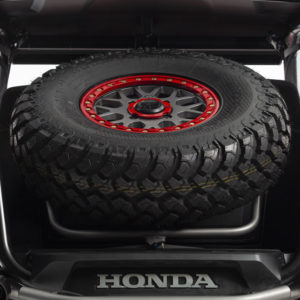 side by side tire carrier red